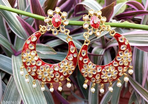 Moon & Flower Design Earring With Kundan & Meena Work
