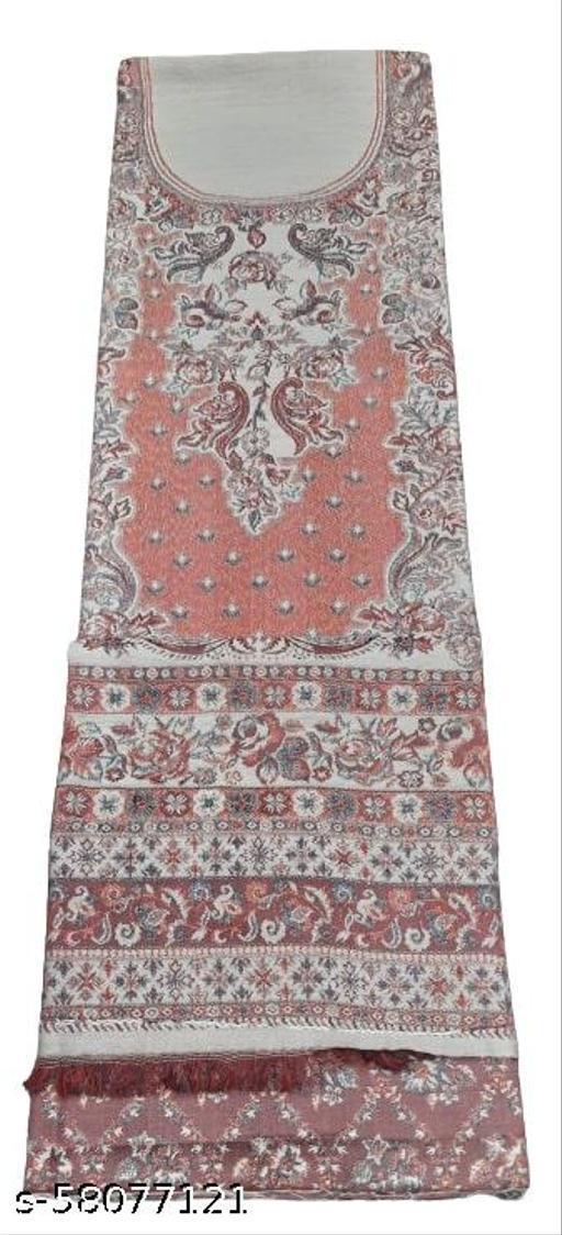 Maurya Printed Woolen Suits For Women Unstitched Winter Suits For Women With Shawl- Cream, Printed Neck Kurti, Printed Bottom And Printed Shawl