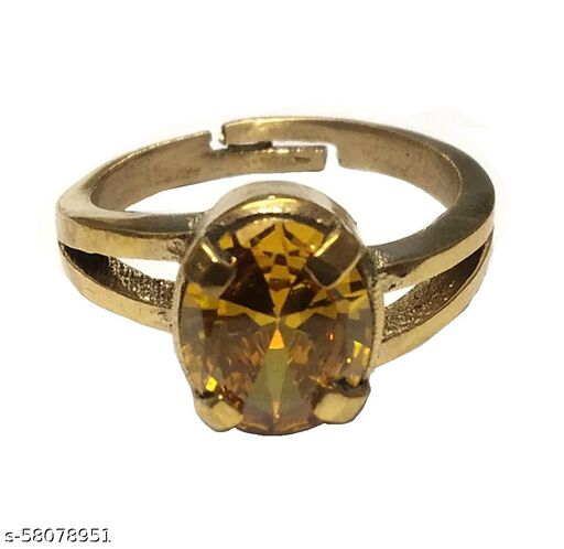 Certified Natural Original Gold Platted Yellow Sapphire Pukhraj Ring (6 to 7 Carat)