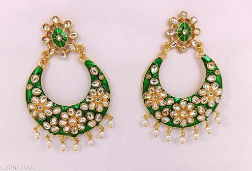 Traditional Pearl Kundan Meenakari Handmade Chandbali Earrings