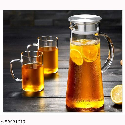 1.3 Liter Glass Pitcher with Stainless Steel lid iced Tea Pitcher Water jug hot & Cold Water Wine Coffee Milk Juice Beverage Carafe and Sun Tea jar, 1300ml (1 Pc)