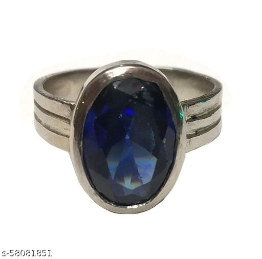 Neelam (Blue Sapphire) Ring With White Metal Brass Sapphire Ring Certified (6 to 7 Carat)
