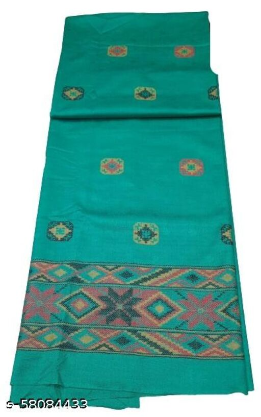 Maurya Printed Woolen Suits For Women Unstitched Winter Suits For Women With Shawl- Sea Green, Bordered Kurti, Bordered Bottom And Bordered Shawl