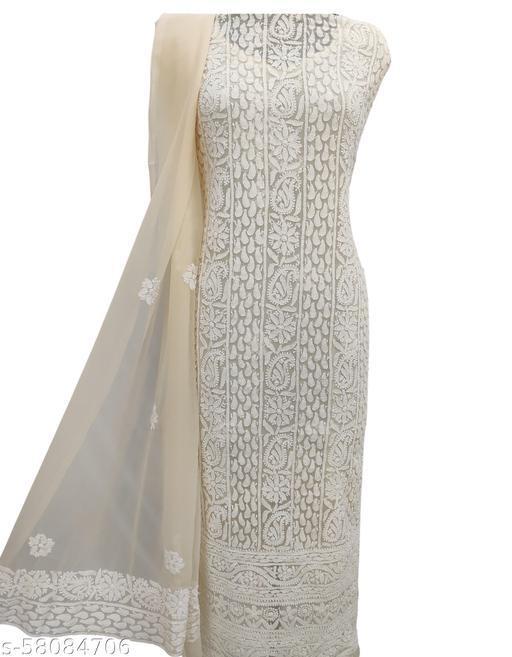 Shyamal Chikan Hand Embroidered Lucknawi Chikanakari Georgette Suit Length - 8052622506