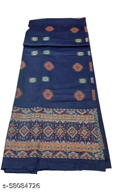 Maurya Printed Woolen Suits For Women Unstitched Winter Suits For Women With Shawl- Navy Blue, Bordered Kurti, Plain Bottom And Bordered Shawl