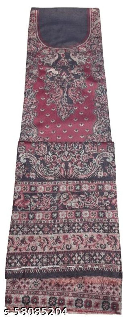 Maurya Printed Woolen Suits For Women Unstitched Winter Suits For Women With Shawl- Purple, Printed Neck Kurti, Printed Bottom And Printed Shawl