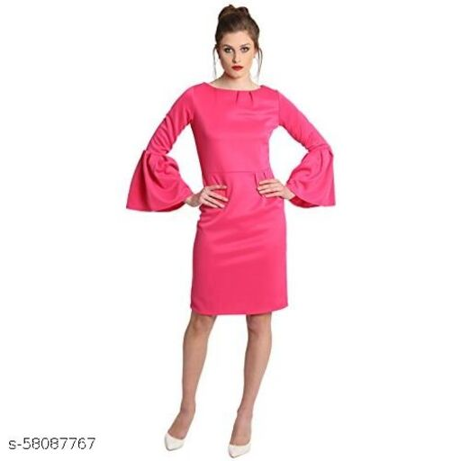 Hotpink dress with bell sleeves