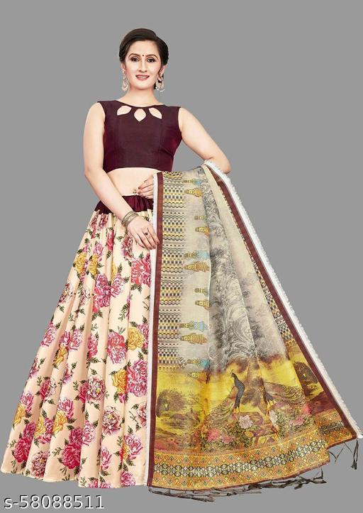 etest Designer Silk Multi Colour Printed Lehenga Choli