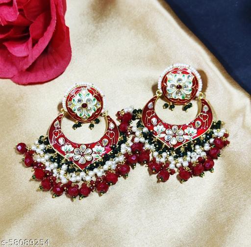 Prime and Precious Kundan and Meenakari Chandbali Earrings