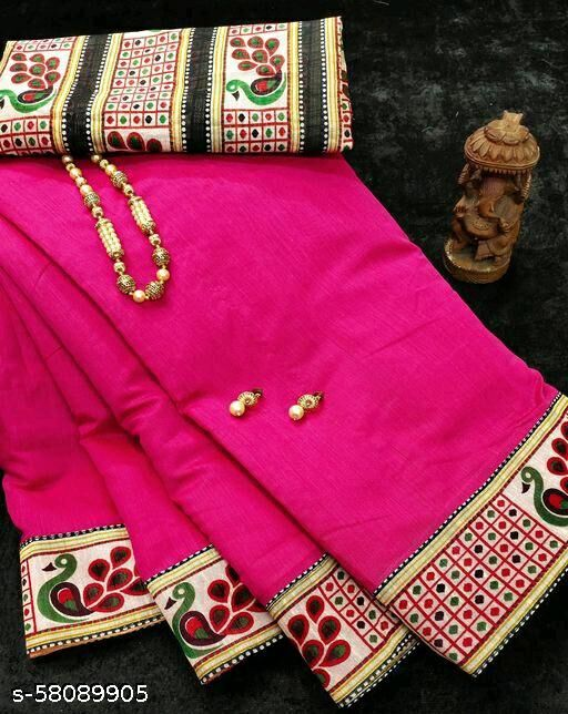 chanderi cottan saree with printed less & blouse
