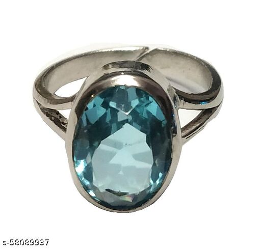 A+ Quality Blue Topaz Silver Plated Ring Natural Original Certified (6 to 7 Carat)