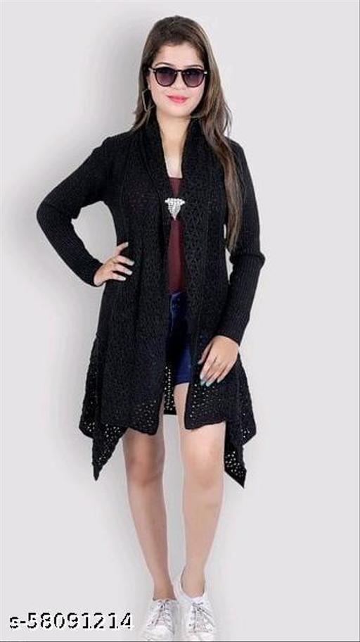 Pure Wool Stylish Long Shrug