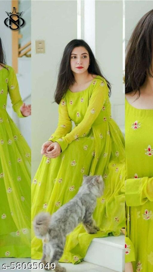 Demanding parrot green colour Embroidairy work gown