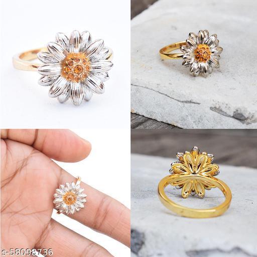 Sweet Golden Flower Party Ring For Girls & Women