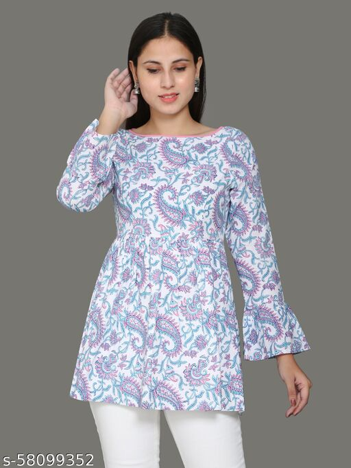 Allover paisley block printed top with buttones at back Kurti