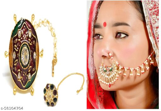 Beautiful Rajasthani Nathani with Borla Nosepins