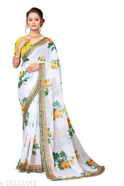 Georgette Digital Printed Saree With Sequence Work Lace Border With Embroidery Work Blouse Piece
