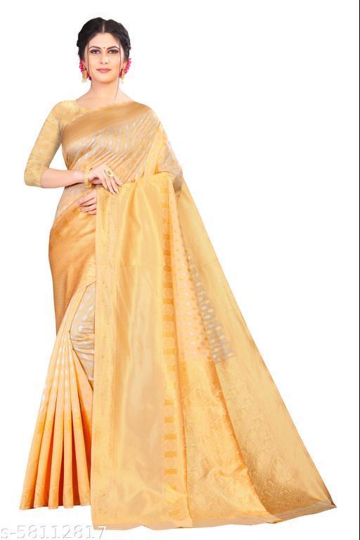 Tinuscart Beutiful  Print  Cotton Silk Saree
