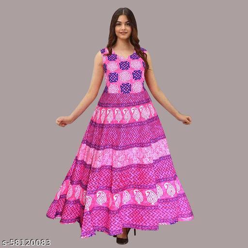 New Vibrant and Colorful Designer Long Sleeveless Jaipuri Flayered Printed Midi Dresses for women   Comfortable Party Designer Midi Dresses for Girls (Free Size)