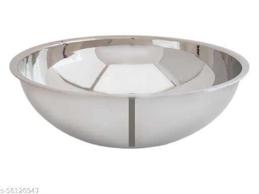Madhuram 14 Gauge Heavy Stainless Steel Kadai / Mixing Bowl / Tasla 2.5 L capacity 26.5 cm diameter  (Stainless Steel)