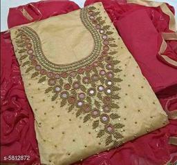 Pretty Chanderi Silk Embroidered Suit