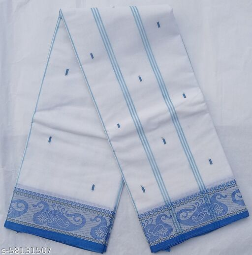 Women's Bengali  Pure Cotton Saree-Tant Handloom Daily wear   (White-Sky ||Without Blouse)