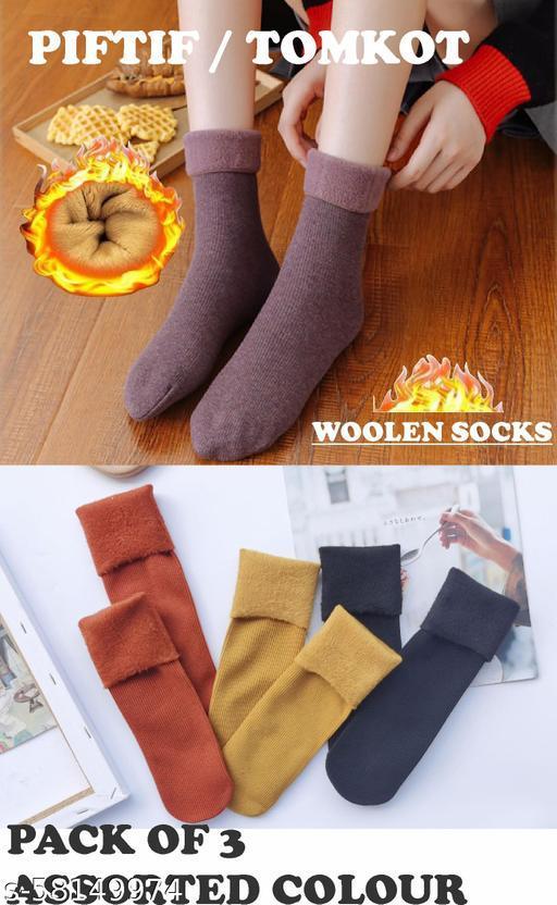 Piftif woolen women men High Quality Add fluff and thick snow ladies socks