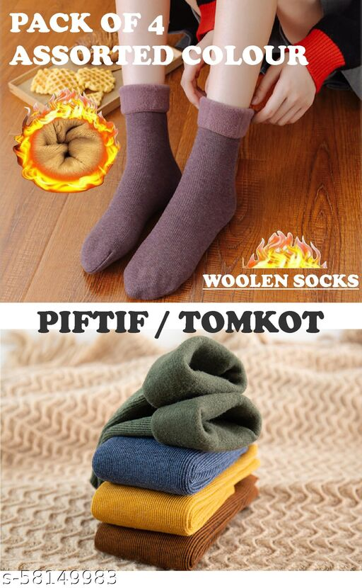 Piftif adult woolen warm tube snow socks and velvet thickening men and women fashion solid color floor socks