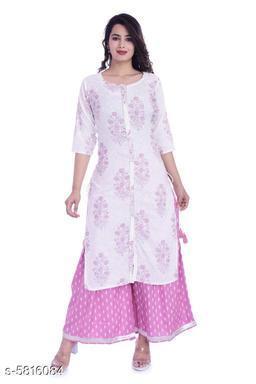 Women's Printed Office Wear Kurta Set with Sharara