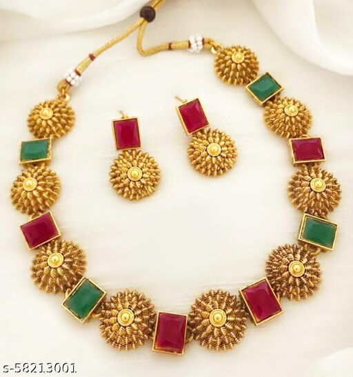 Gold Plated AD Stone Jewellery Set