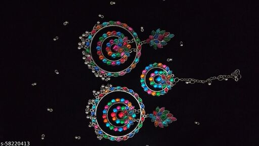 Dazzled Jewels Oxidised Multi Stone Chandbali with Tikka Set for Women