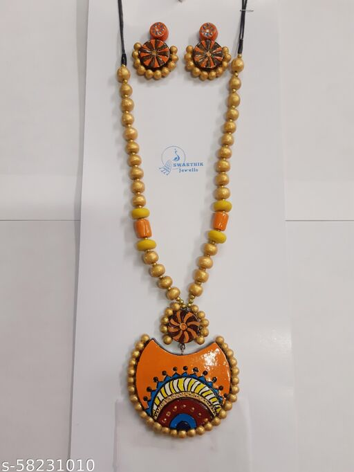 Awesome orange and Golden necklace set