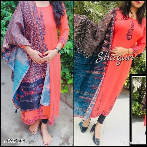 Kurta Sets Classy Women Kurti With Shrug  *Kurta Fabric* Rayon  *Duppata Fabric * Chanderi Cotton  *Sleeve Length* Three-Quarter Sleeves  *Set Type* Kurti With Duppata  *Work * Printed  *Multipack* Single  *Sizes*   *XL (Kurti Bust Size* 42 in, Kurti Length Size  *L (Kurti Bust Size* 40 in,  Kurti Length Size  *M (Kurti ust Size* 38 in,  Kurti Length Size  *S (Kurti Bust Size* 36 in,  Kurti Length Size  *XXL (Kurti Bust Size* 44 in,  Kurti Length Size  *Sizes Available* L   Supplier Rating: ★4.1 (833) SKU: Shagun10_495  Shipping charges: Rs1 (Non-refundable) Pkt. Weight Range: 200  Catalog Name: Banita Alluring Women Kurta Sets - B_P of Kurtis Code: 946-5824364--277