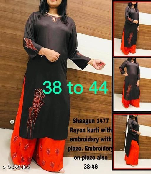 Kurta Sets Classy Women Kurti With Shrug  *Kurta Fabric* Rayon  *Bottomwear Fabric* Rayon  *Sleeve Length* Three-Quarter Sleeves  *Set Type* Kurti With Palazzo  *Bottom Type* Palazzo  *Work * Embroidered  *Multipack* Single  *Sizes*   *XL (Kurti Bust Size* 42 in, Kurti Length Size  *L (Kurti Bust Size* 40 in,  Kurti Length Size  *M (Kurti Bust Size* 38 in,  Kurti Length Size  *S (Kurti Bust Size* 36 in,  Kurti Length Size  *XXL (Kurti Bust Size* 44 in,  Kurti Length Size  *Sizes Available* L   Supplier Rating: ★4.1 (833) SKU: Shagun_1477  Shipping charges: Rs1 (Non-refundable) Pkt. Weight Range: 200  Catalog Name: Banita Alluring Women Kurta Sets - B_P of Kurtis Code: 418-5824365--439