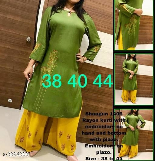 Kurta Sets Classy Women Kurti With Shrug  *Kurta Fabric* Rayon  *Bottomwear Fabric* Rayon  *Sleeve Length* Three-Quarter Sleeves  *Set Type* Kurti With Palazzo  *Bottom Type* Palazzo  *Work * Embroidered  *Multipack* Single  *Sizes*   *XL (Kurti Bust Size* 42 in, Kurti Length Size  *L (Kurti Bust Size* 40 in,  Kurti Length Size  *M (Kurti Bust Size* 38 in,  Kurti Length Size  *S (Kurti Bust Size* 36 in,  Kurti Length Size  *XXL (Kurti Bust Size* 44 in,  Kurti Length Size  *Sizes Available* L   Supplier Rating: ★4.1 (833) SKU: Shagun_1406  Shipping charges: Rs1 (Non-refundable) Pkt. Weight Range: 200  Catalog Name: Banita Alluring Women Kurta Sets - B_P of Kurtis Code: 418-5824366--439