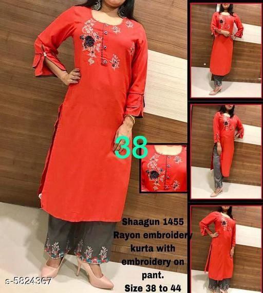 Kurta Sets Classy Women Kurti With Shrug  *Kurta Fabric* Rayon  *Bottomwear Fabric* Rayon  *Sleeve Length* Three-Quarter Sleeves  *Set Type* Kurti With Palazzo  *Bottom Type* Palazzo  *Work * Embroidered  *Multipack* Single  *Sizes*   *XL (Kurti Bust Size* 42 in, Kurti Length Size  *L (Kurti Bust Size* 40 in,  Kurti Length Size  *M (Kurti Bust Size* 38 in,  Kurti Length Size  *S (Kurti Bust Size* 36 in,  Kurti Length Size  *XXL (Kurti Bust Size* 44 in,  Kurti Length Size  *Sizes Available* L   Supplier Rating: ★4.1 (833) SKU: Shagun_1455  Shipping charges: Rs1 (Non-refundable) Pkt. Weight Range: 200  Catalog Name: Banita Alluring Women Kurta Sets - B_P of Kurtis Code: 418-5824367--439