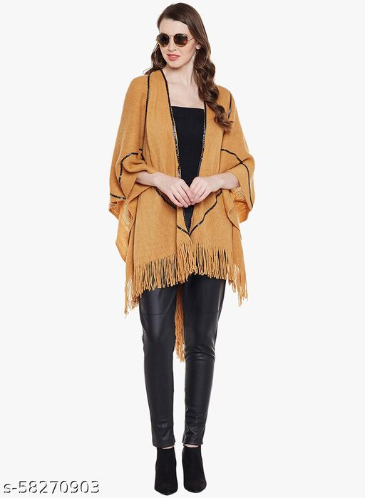 Natty IndiaMustard Color Pure Wool Poncho with Front Open and Free Style