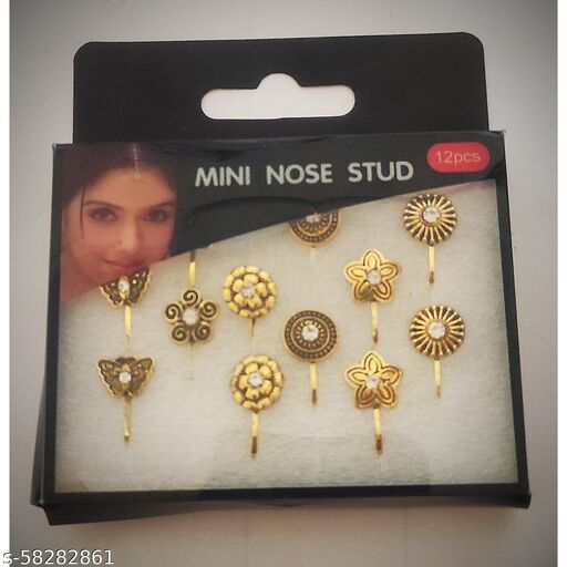 Stylish Golden Metal Nose Pierced Stud Pin Rings for Women And Girls | Pack  Of 12