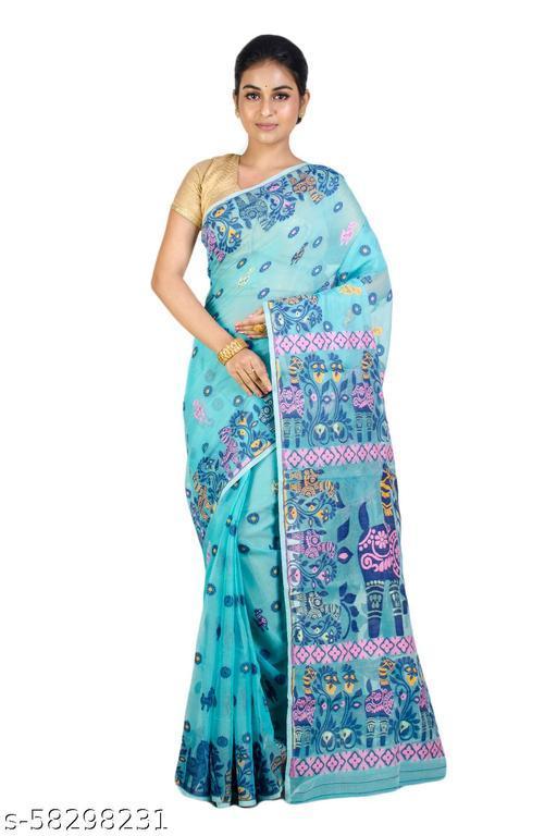 Upama Febric Self Design Pure Handloom Cotton Silk Jamdani Saree