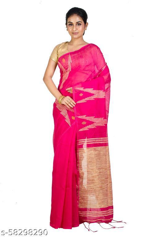 Upama Febric Self Design Pure Handloom Cotton Linen blend Saree
