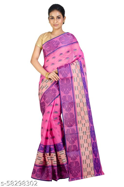 Upama Febric Self Design Phulia Pure Cotton  Tant Saree
