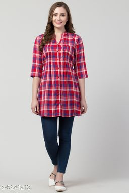Women's Printed Red Cotton Top