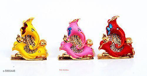 Religious Idols & Paintings Elite Traditional Ganesh Ji Idols  *Material* Metal  *Pack* Pack of 3  *Product Length* 6 cm  *Product Breadth* 2 cm  *Product Height* 7 cm  *Sizes Available* Free Size   Supplier Rating: ★3.9 (2427) SKU: set-of-3 Shipping charges: Rs1 (Non-refundable) Pkt. Weight Range: 113  Catalog Name: Elite Traditional Ganesh Ji Idols - ATC KURTIS Code: 8301-5860448--5411