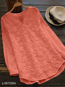 Women's Embroidered Peach Cotton Top
