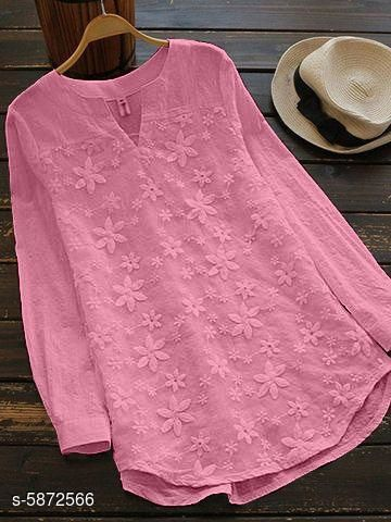 Women's Embellished Pink Cotton Top