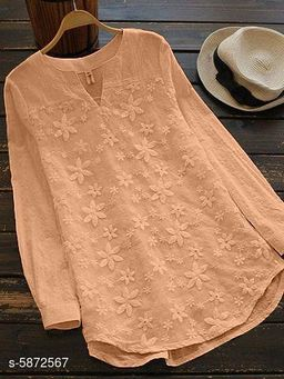 Women's Embroidered Beige Cotton Top