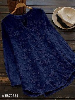 Women's Embroidered Navy Blue Cotton Top