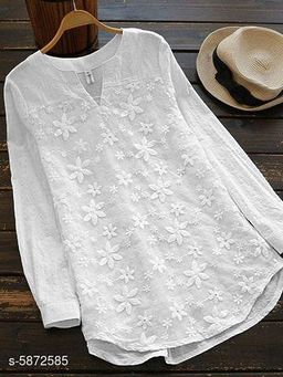 Women's Embroidered White Cotton Top