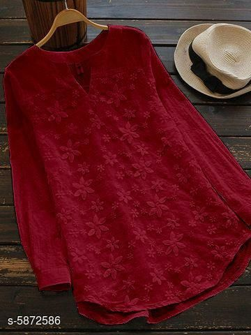 Women's Embroidered Maroon Cotton Top