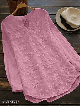 Women's Embroidered Purple Cotton Top
